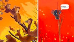 Az emberek a világ minden tájáról tiszteletteljes műalkotást készítenek, hogy kifejezzék érzéseiket az ausztrál erdőtüzekről (25 kép)