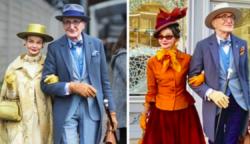 Egy idős pár Németországból olyan stílusosan öltözik, mintha készen állnának a királynő fogadására