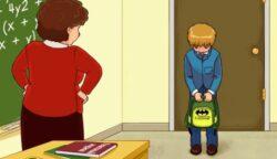 A kisfiú elkésett az iskolából, ám nem ez a hiba az, amit meg kell találni: te rájössz, hogy mi nem stimmel a rajzon?