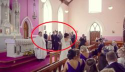A pap az esküvőn leszegi a fejét és a menyasszony neszezést hall a háta mögül. Arcán csurognak a könnyei, mikor rájön, ki van ott